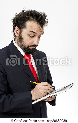 Confused Employee Taking Notes - csp20659089