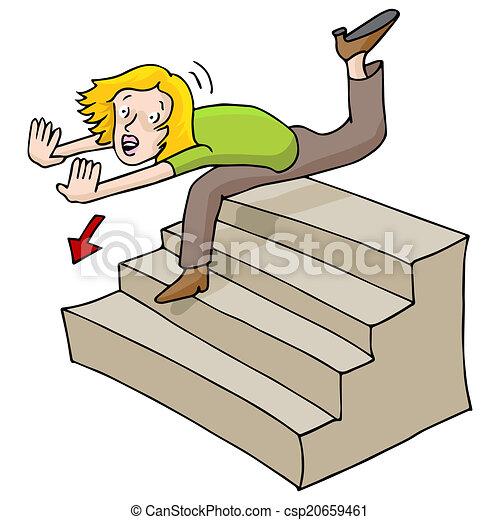 clip art vector of woman falling down stairs an image of broken leg clipart for actors broken leg clipart