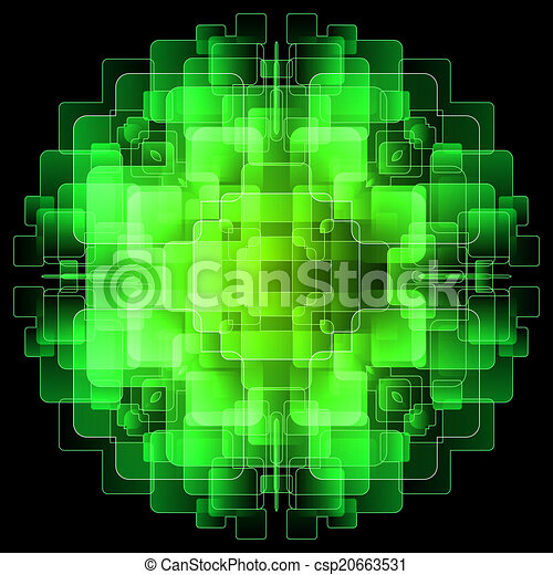 Background with green digital screens - csp20663531