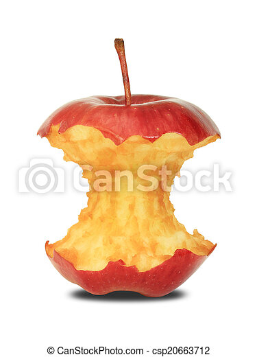 Red apple core on a white background - csp20663712