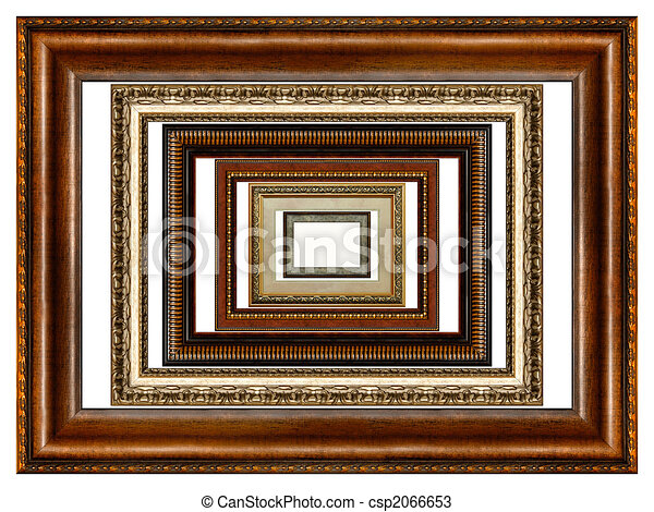 Set of antique wooden picture frames - csp2066653