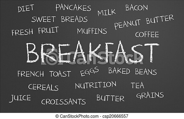 frukost, ord, moln - csp20666557