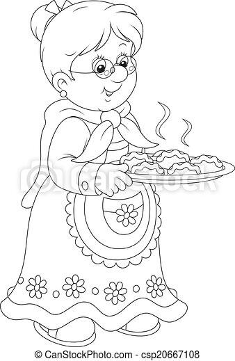 Clipart vecteur de tartes grand maman grandmother tenue a plateau de csp20667108 - Dessin grand mere ...