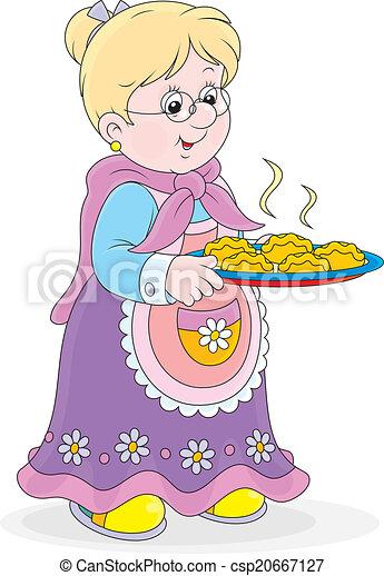 Illustration vecteur de tartes grand maman grand m re tenue a plateau de csp20667127 - Dessin grand mere ...