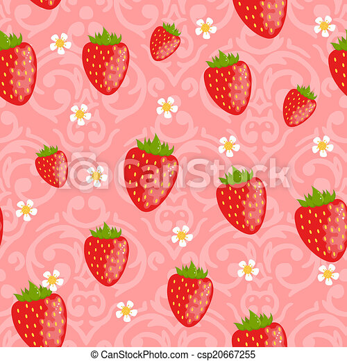 Vector seamless damask pattern with cute strawberries - csp20667255