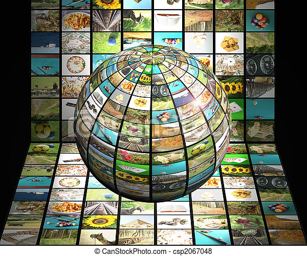 Sphere with many pictures in fron of digital television screen, modern 3D television concept
