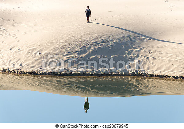 Water Refecting Mirror Image Of Man