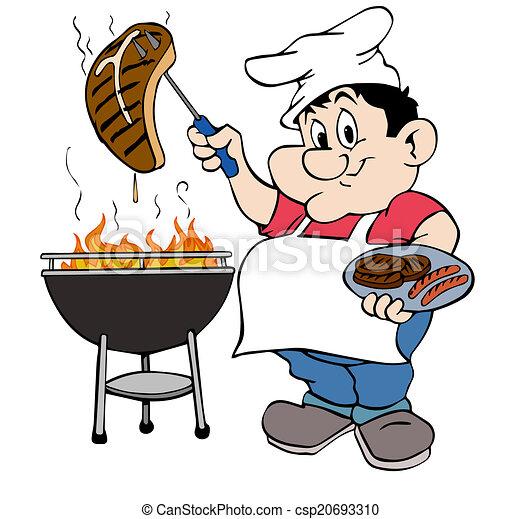 clipart of barbeque guy hand drawn cartoon chef working film strip clip art no border film strip clip art black and white
