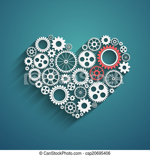 heart with gears - csp20695406