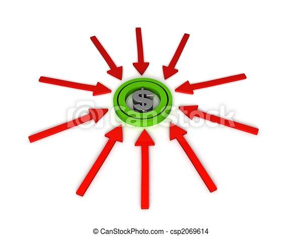 three dimensional dollar sign on arrows - csp2069614