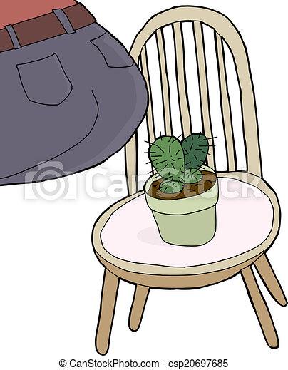 vector of sitting on cactus rear end of person sitting on chair with csp20697685 search. Black Bedroom Furniture Sets. Home Design Ideas