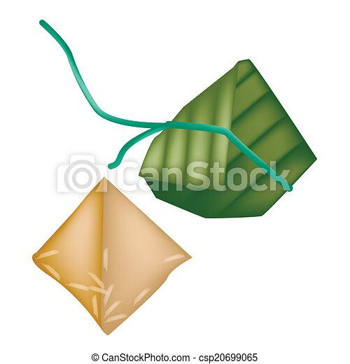 Chinese Dumpling Drawing Rice Dumpling or Zongzi in