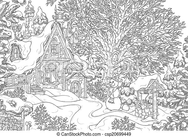 Old Village House Drawing Village House in Winter