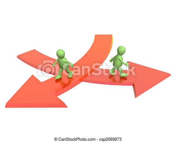 Concept - different direction in business - csp2069973