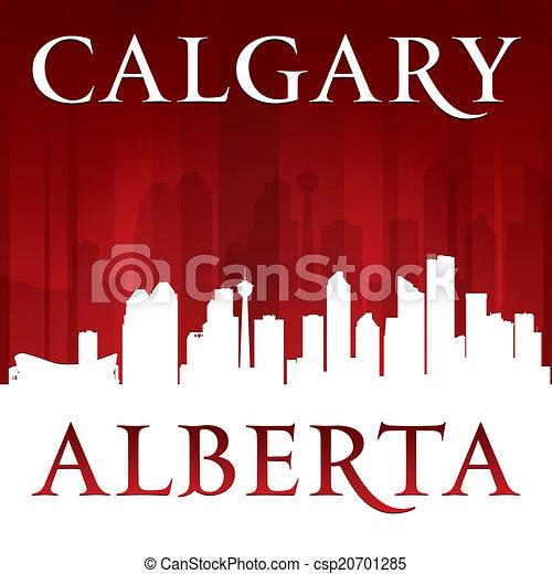 Calgary Alberta Canada city skyline silhouette red background  - csp20701285
