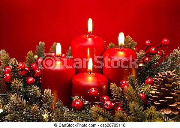 fiore, avvento, disposizione, 4, Candela, rosso - csp20703118