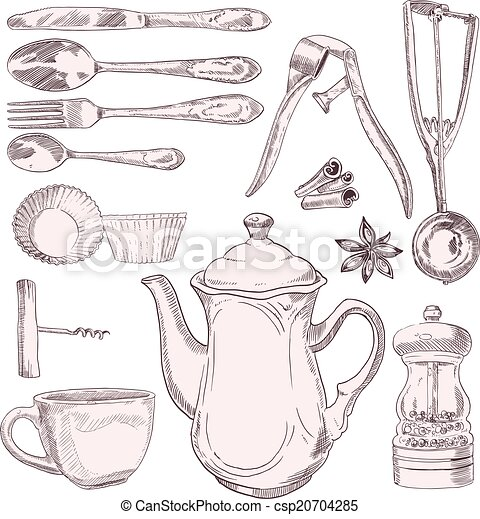 Vintage Kitchen Utensils Illustration vectors illustration of vintage kitchen utensils - vector set of