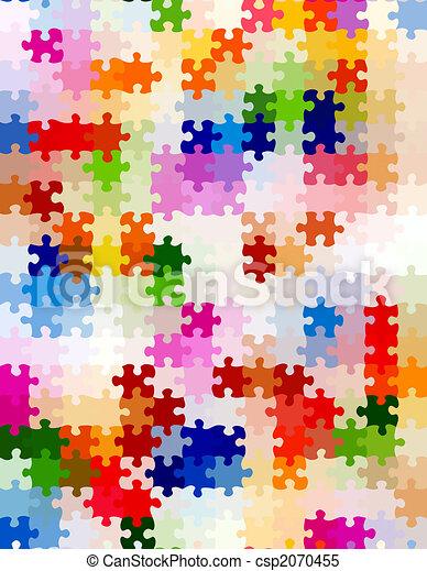 vibrant jigsaw pieces pattern - csp2070455