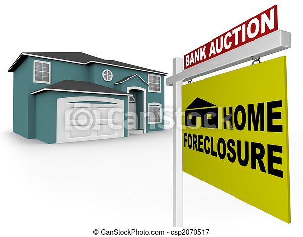 Home Foreclosure Sign in Front of House - csp2070517