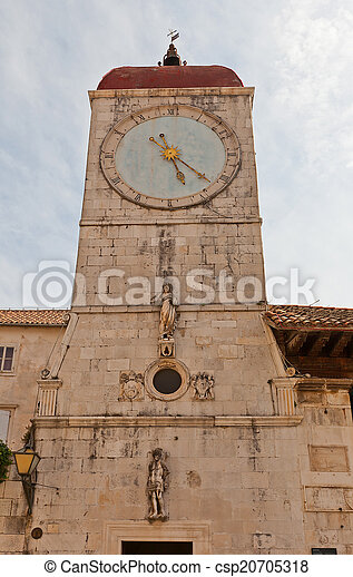 Clock tower of St Sebastian church (1476). Trogir, Croatia - csp20705318