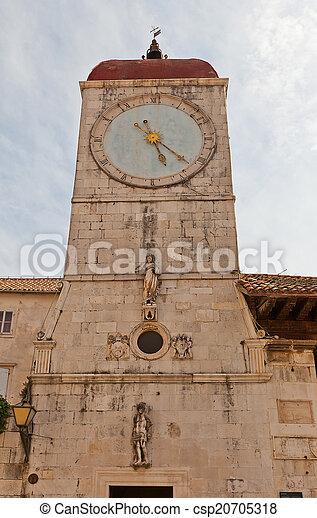 Clock tower of St Sebastian church (1476). Trogir, Croatia - csp20705318
