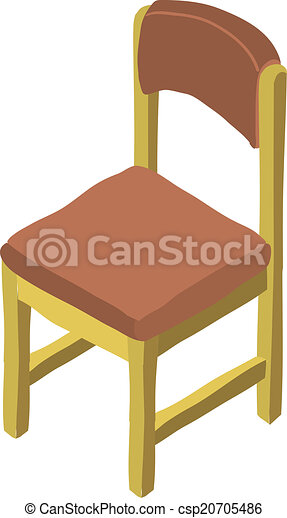 Vector of vector cartoon isometric wood chair icon hand for Chaise game free download