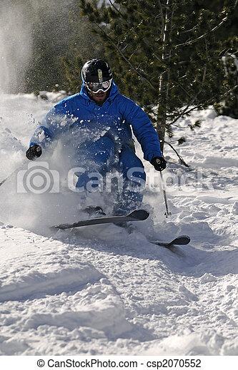 Freeride Skier in powder snow. - csp2070552