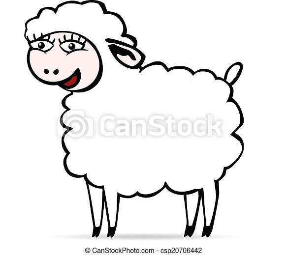 Sheep Eyes Drawing Smiling Sheep Csp20706442
