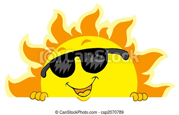 Cute lurking Sun with sunglasses - csp2070789