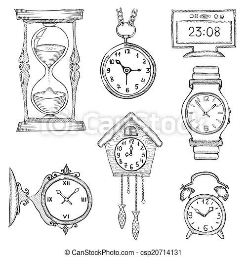 Armbanduhr skizze  Vektoren von gezeichnet, uhren, satz, hand - hand, gezeichnet ...