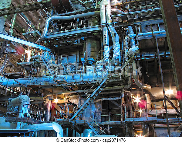 steam turbines, machinery, pipes, tubes at a power plant