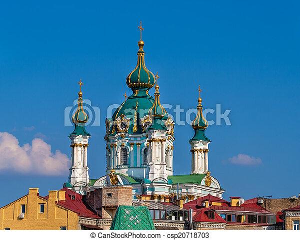 Cupola of St Andrew's Church - Kyiv, Ukraine - csp20718703