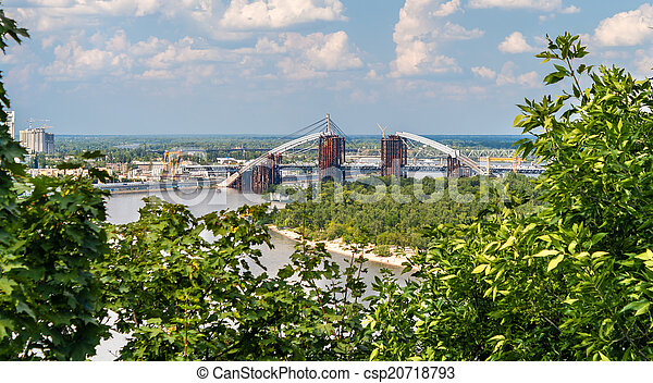 View of Dnieper river with bridges in Kiev, Ukraine - csp20718793