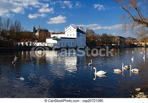 Prague and its old houses, Vltava river and bridges - csp20721080