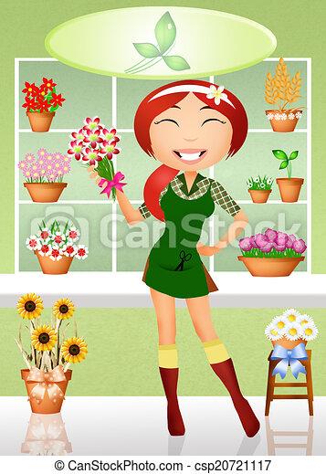 Clipart de fleuriste illustration de fleuriste - Fleuriste dessin ...