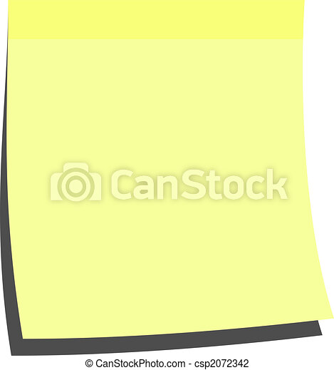 Clip Art Of Yellow Memo Stick - Illustration Of A Blank Memo Stick