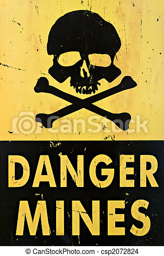 danger mines warning sign closeup - csp2072824