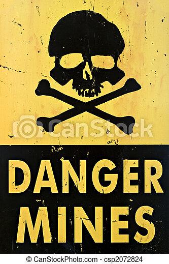 danger mines warning sign closeup - csp2072824