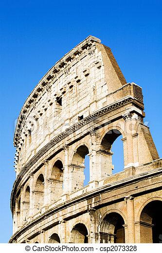 Colosseum Rome blue sky - csp2073328