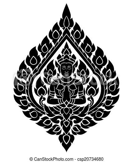 Thai arts angel, vector pattern - csp20734680