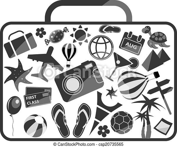 Clip art vecteur de compos diff rent l ments bagage voyage noir blanc - Sejour noir et blanc ...