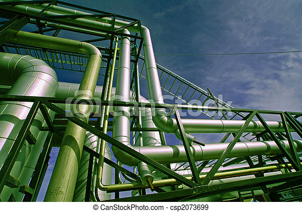 industrial pipelines on pipe-bridge against blue sky - csp2073699