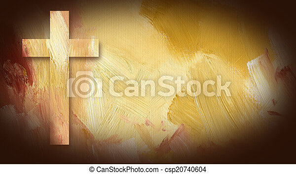 Calvary Cross graphic on painted texture background - csp20740604