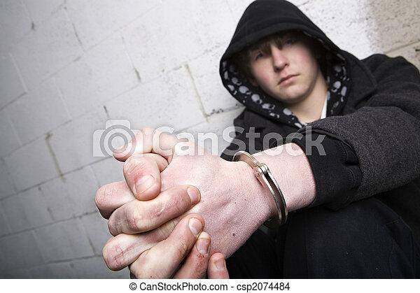 teen in handcuffs - csp2074484
