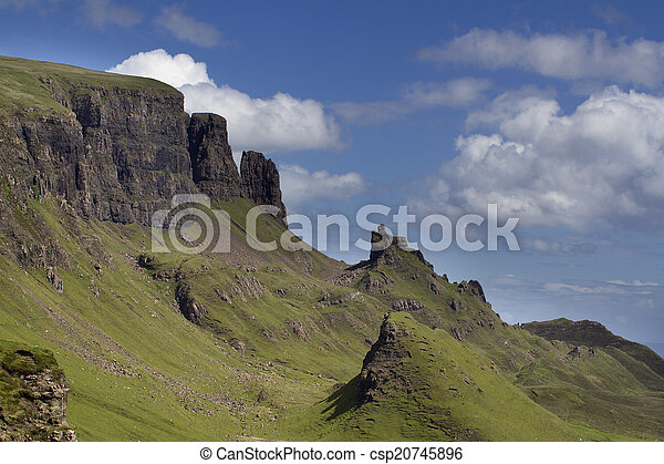 beautiful quiraing range of mountains in isle of skye, scotland - csp20745896