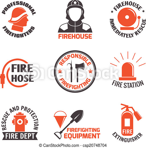 Vector Clipart of Firefighting label set - Firefighting professional ...