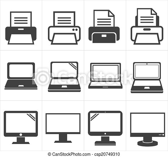 clip art vecteur de ic ne bureau quipement fax ordinateur portable csp20749310. Black Bedroom Furniture Sets. Home Design Ideas