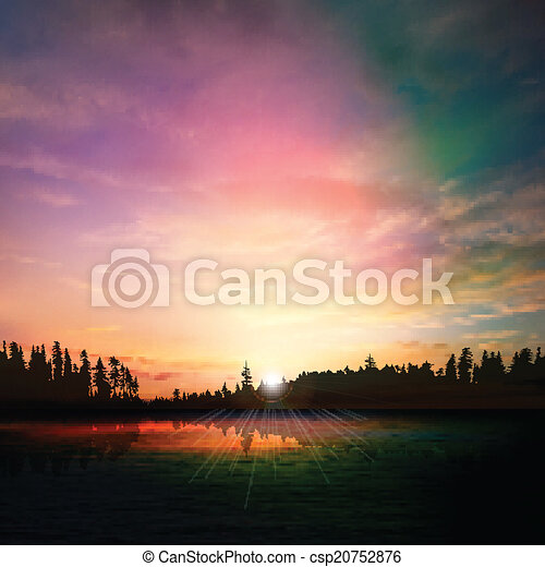 abstract nature dark background with forest lake sunset and clou - csp20752876