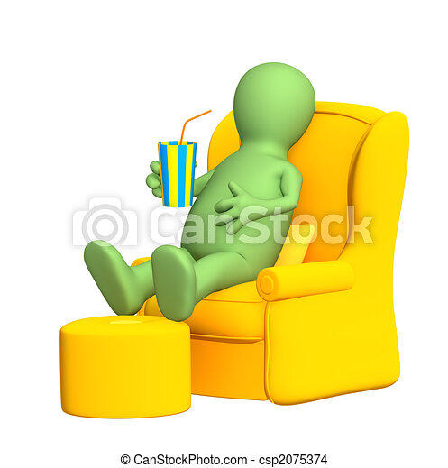 3d puppet, having a rest in a soft armchair - csp2075374
