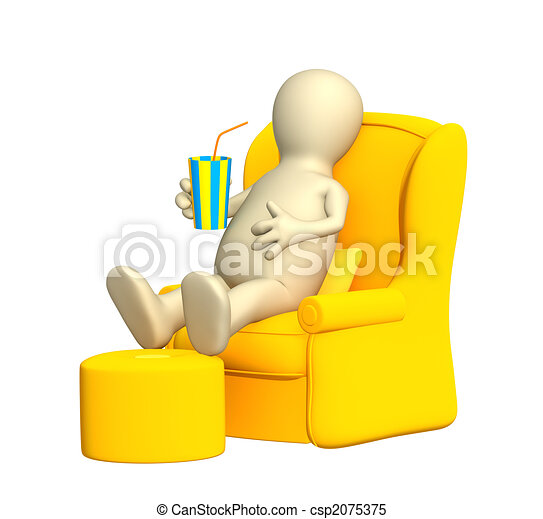 3d puppet, having a rest in a soft armchair - csp2075375